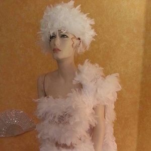 60's Style White Chandelle Feather Hat Headpiece